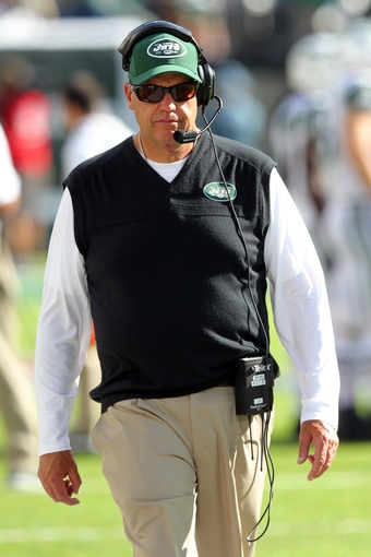 Sep 8, 2013; East Rutherford, NJ, USA; New York Jets head coach Rex Ryan walks on the sideline during the fourth quarter of a game against the Tampa Bay Buccaneers at MetLife Stadium. The Jets won 18-17. Mandatory Credit: Brad Penner-USA TODAY Sports