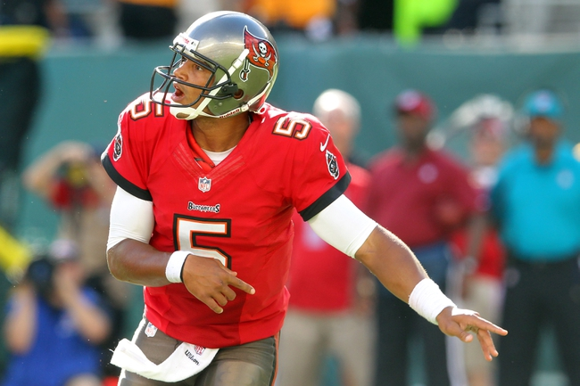 Sep 8, 2013; East Rutherford, NJ, USA; Tampa Bay Buccaneers quarterback Josh Freeman (5) reacts after completing a pass against the New York Jets during the fourth quarter of a game at MetLife Stadium. The Jets won 18-17. Mandatory Credit: Brad Penner-USA TODAY Sports