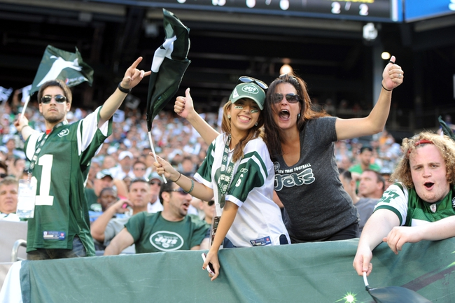 Sep 8, 2013; East Rutherford, NJ, USA; New York Jets fans cheer against the Tampa Bay Buccaneers during the second half at MetLife Stadium. The Jets won 18-17. Mandatory Credit: Joe Camporeale-USA TODAY Sports