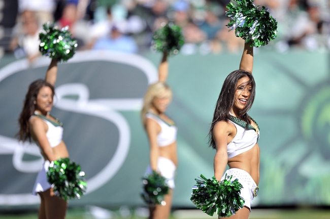 Sep 8, 2013; East Rutherford, NJ, USA; New York Jets Flight Crew cheerleaders perform during the second half against the Tampa Bay Buccaneers at MetLife Stadium. The Jets won 18-17. Mandatory Credit: Joe Camporeale-USA TODAY Sports