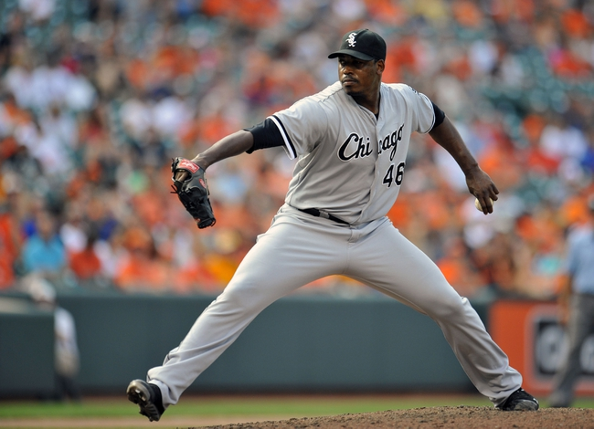 Sep 8, 2013; Baltimore, MD, USA; Chicago White Sox pitcher Donnie Veal (46) throws in the eighth inning against the Baltimore Orioles at Oriole Park at Camden Yards. The White Sox defeated the Orioles 4-2. Mandatory Credit: Joy R. Absalon-USA TODAY Sports