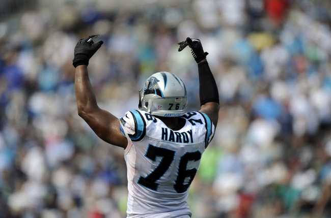 Sep 8, 2013; Charlotte, NC, USA; Carolina Panthers defensive end Greg Hardy reacts to the crowd during the game against the Seattle Seahawks at Bank of America Stadium.  Seattle wins 12-7.  Mandatory Credit: Sam Sharpe-USA TODAY Sports