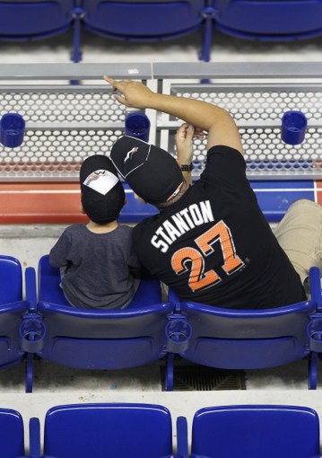 Sep 8, 2013; Miami, FL, USA;  Miami Marlins fans during the first inning against the Washington Nationals at Marlins Park. Mandatory Credit: Robert Mayer-USA TODAY Sports