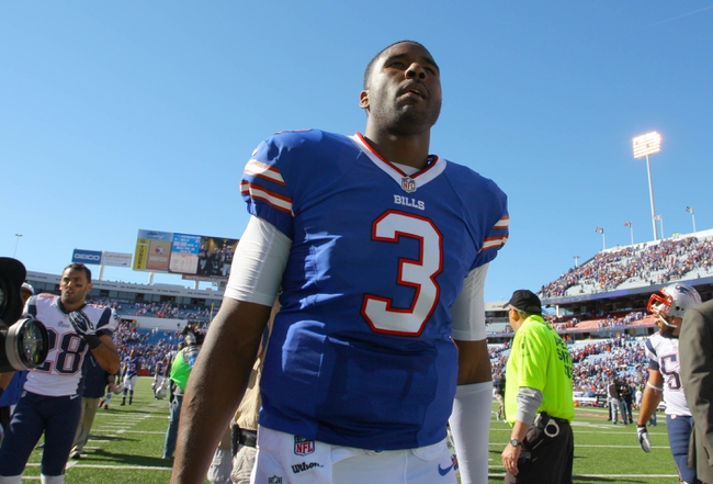 Sep 8, 2013; Orchard Park, NY, USA; Buffalo Bills quarterback EJ Manuel (3) walks off the field after a game against the New England Patriots at Ralph Wilson Stadium.  Patriots beat the Bills 23 to 21.  Mandatory Credit: Timothy T. Ludwig-USA TODAY Sports