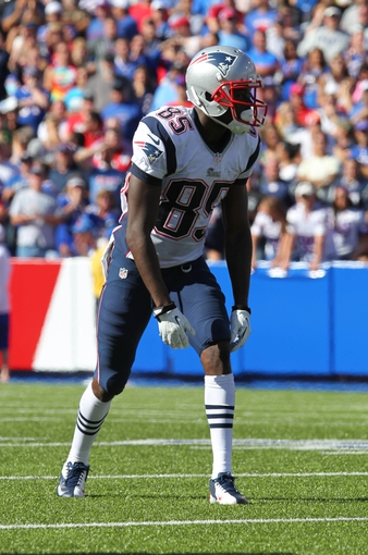 Sep 8, 2013; Orchard Park, NY, USA; New England Patriots wide receiver Kenbrell Thompkins (85) waits for the snap during the second half against the Buffalo Bills at Ralph Wilson Stadium.  Patriots beat the Bills 23 to 21.  Mandatory Credit: Timothy T. Ludwig-USA TODAY Sports