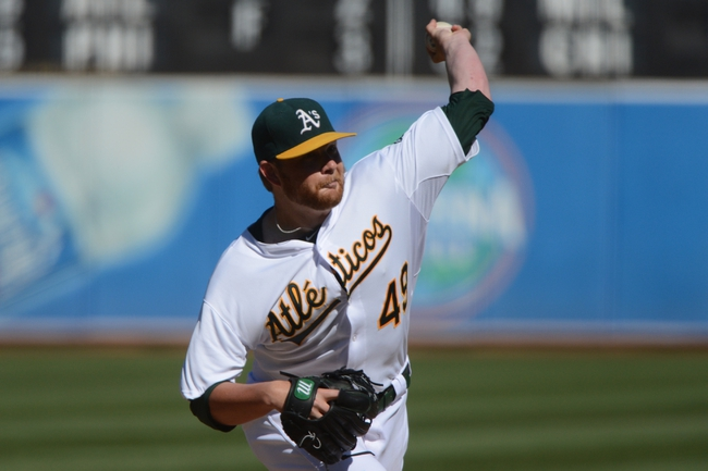 September 8, 2013; Oakland, CA, USA; Oakland Athletics starting pitcher Brett Anderson (49) delivers a pitch against the Houston Astros during the ninth inning at O.co Coliseum. The Athletics defeated the Astros 7-2. Mandatory Credit: Kyle Terada-USA TODAY Sports
