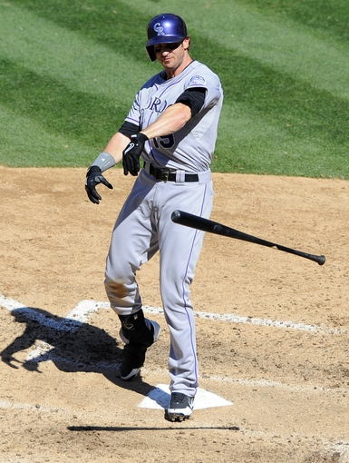 Sep 8, 2013; San Diego, CA, USA; Colorado Rockies center fielder Charlie Blackmon (19) reacts after striking out during the sixth inning against the San Diego Padres at Petco Park.The Padres won 5-2. The Padres won 5-2. Mandatory Credit: Christopher Hanewinckel-USA TODAY Sports