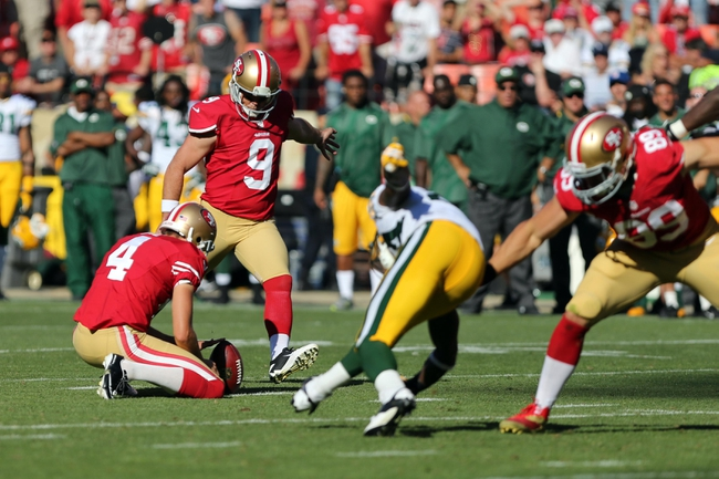 Sep 8, 2013; San Francisco, CA, USA; San Francisco 49ers kicker Phil Dawson (9) kicks a field goal against the Green Bay Packers during the fourth quarter at Candlestick Park. The San Francisco 49ers defeated the Green Bay Packers 34-28. Mandatory Credit: Kelley L Cox-USA TODAY Sports