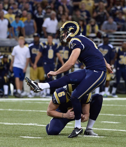Sep 8, 2013; St. Louis, MO, USA; St. Louis Rams kicker Greg Zuerlein (4) kicks a 48 yard field goal to put the Rams ahead of the Arizona Cardinals during the second half at Edward Jones Dome. The Rams defeated the Cardinals 27-24. Mandatory Credit: Scott Rovak-USA TODAY Sports