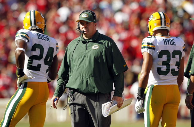 Sep 8, 2013; San Francisco, CA, USA; Green Bay Packers head coach Mike McCarthy stands on the field during action against the San Francisco 49ers in the fourth quarter at Candlestick Park. The 49ers defeated the Packers 34-28. Mandatory Credit: Cary Edmondson-USA TODAY Sports