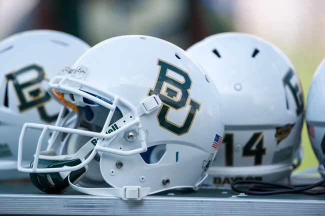 Sep 7, 2013; Waco, TX, USA; A view of the new Baylor Bears helmets during the game between the Bears and the Buffalo Bulls at Floyd Casey Stadium. The Bears defeated the Bulls 70-13. Mandatory Credit: Jerome Miron-USA TODAY Sports