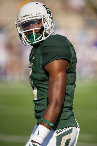 Sep 7, 2013; Waco, TX, USA; Baylor Bears wide receiver Robbie Rhodes (3) during the game against the Buffalo Bulls at Floyd Casey Stadium. The Bears defeated the Bulls 70-13. Mandatory Credit: Jerome Miron-USA TODAY Sports