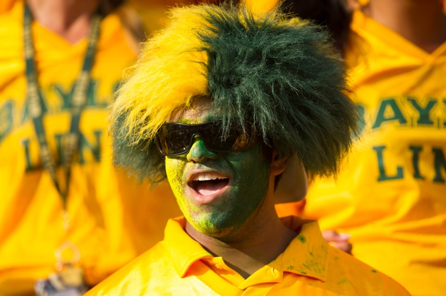 Sep 7, 2013; Waco, TX, USA; A Baylor Bears fan in costume during the game between the Bears and the Buffalo Bulls at Floyd Casey Stadium. The Bears defeated the Bulls 70-13. Mandatory Credit: Jerome Miron-USA TODAY Sports