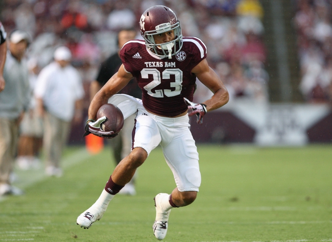 Sep 7, 2013; College Station, TX, USA; Texas A&M Aggies wide receiver Sabian Holmes (23) makes a reception during the first quarter against the Sam Houston State Bearkats at Kyle Field. Mandatory Credit: Troy Taormina-USA TODAY Sports