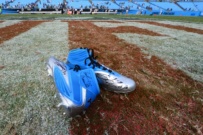 Sep 8, 2013; Charlotte, NC, USA; Carolina Panthers wide receiver Steve Smith (89) leaves his shoes on the field after the game. The Seahawks defeated the Panthers 12-7 at Bank of America Stadium. Mandatory Credit: Bob Donnan-USA TODAY Sports