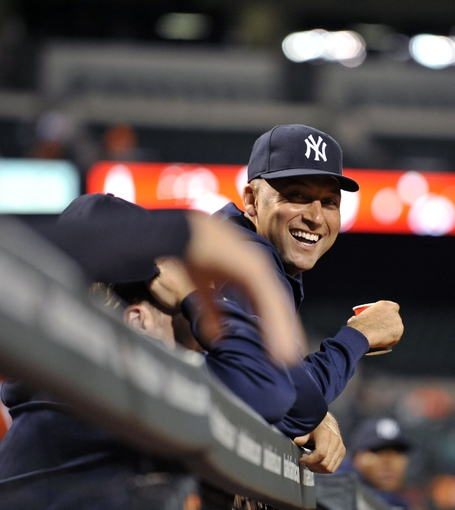 Sep 9, 2013; Baltimore, MD, USA; New York Yankees injured shortstop Derek Jeter (2) in the dugout during the third inning against the Baltimore Orioles at Oriole Park at Camden Yards. Mandatory Credit: Joy R. Absalon-USA TODAY Sports