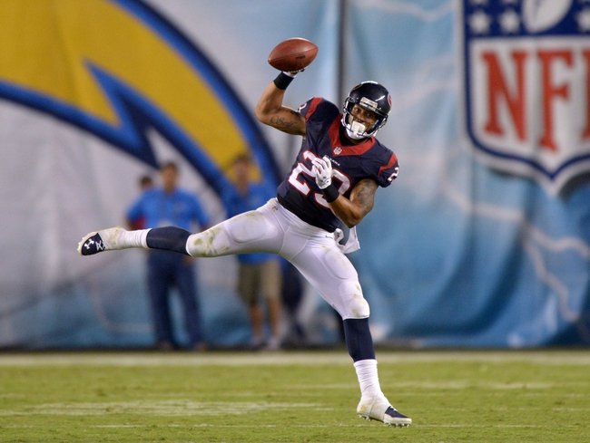 Sep 9, 2013; San Diego, CA, USA; Houston Texans running back Arian Foster (23) catches a pass against the San Diego Chargers at Qualcomm Stadium. The Texans defeated the Chargers 31-28. Mandatory Credit: Kirby Lee-USA TODAY Sports