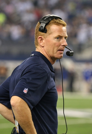 Sep 8, 2013; Arlington, TX, USA; Dallas Cowboys head coach Jason Garrett on the sidelines during the game against the New York Giants at AT&T Stadium. Mandatory Credit: Matthew Emmons-USA TODAY Sports