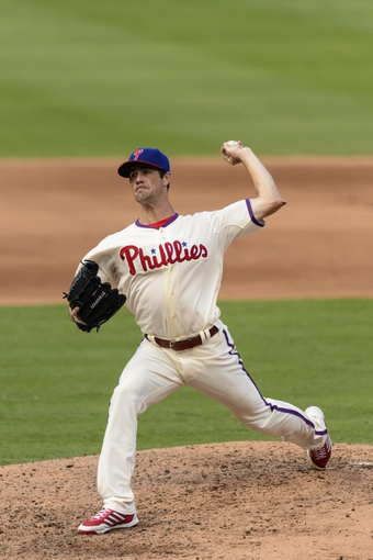 Sep 8, 2013; Philadelphia, PA, USA; Philadelphia Phillies pitcher Cole Hamels (35) delivers to the plate during the eighth inning against the Atlanta Braves at Citizens Bank Park. The Phillies defeated the Braves 3-2. Mandatory Credit: Howard Smith-USA TODAY Sports