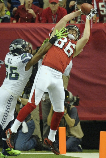 Jan 13, 2013; Atlanta, GA, USA; Atlanta Falcons tight end Chase Coffman (86) during the first quarter of the NFC divisional playoff game at the Georgia Dome. Mandatory Credit: Dale Zanine-USA TODAY Sports