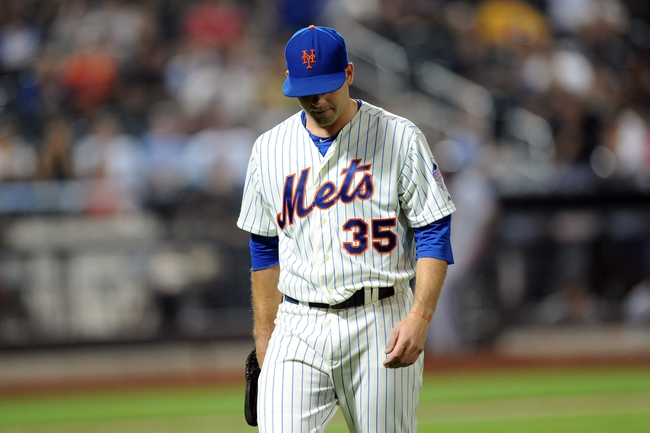 Sep 10, 2013; New York, NY, USA; New York Mets starting pitcher Dillon Gee (35) leaves the game in the seventh inning against the Washington Nationals at Citi Field. Mandatory Credit: Joe Camporeale-USA TODAY Sports