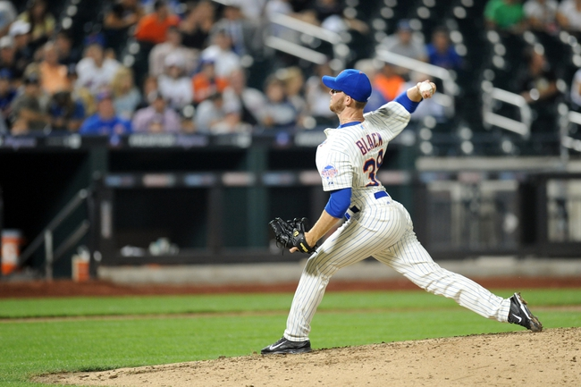 Sep 10, 2013; New York, NY, USA; New York Mets relief pitcher Vic Black (38) throws a pitch against the Washington Nationals during the eighth inning at Citi Field. Mandatory Credit: Joe Camporeale-USA TODAY Sports