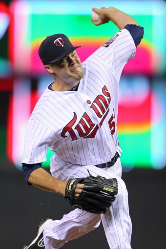 Sep 10, 2013; Minneapolis, MN, USA; Minnesota Twins pitcher Caleb Thielbar (56) delivers a pitch during the sixth inning against the Oakland Athletics at Target Field. Mandatory Credit: Brace Hemmelgarn-USA TODAY Sports