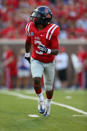 Sep 7, 2013; Oxford, MS, USA; Mississippi Rebels running back Jeff Scott (3) prepares to receive a punt during the game against the Southeast Missouri State Redhawks at Vaught-Hemingway Stadium. Mississippi Rebels defeated the Southeast Missouri State Redhawks 31-13.  Mandatory Credit: Spruce Derden-USA TODAY Sports