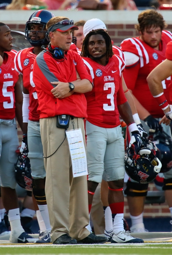 Sep 7, 2013; Oxford, MS, USA; Mississippi Rebels head coach Hugh Freeze during the game against the Southeast Missouri State Redhawks at Vaught-Hemingway Stadium. Mississippi Rebels defeated the Southeast Missouri State Redhawks 31-13.  Mandatory Credit: Spruce Derden-USA TODAY Sports