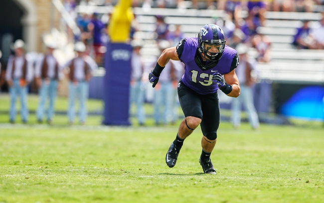 Sep 7, 2013; Fort Worth, TX, USA; TCU Horned Frogs wide receiver Ty Slanina (13) runs a pattern during the game against the Southeastern Louisiana Lions at Amon G. Carter Stadium. Mandatory Credit: Kevin Jairaj-USA TODAY Sports