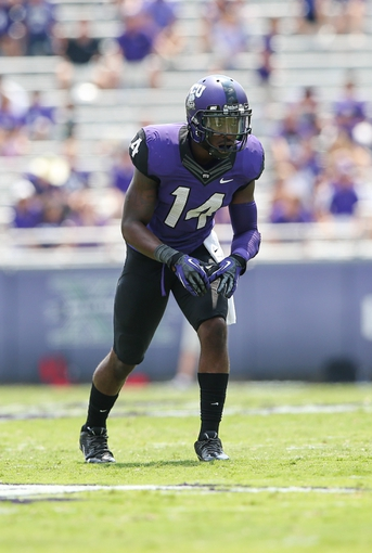 Sep 7, 2013; Fort Worth, TX, USA; TCU Horned Frogs wide receiver David Porter (14) lines up during the game against the Southeastern Louisiana Lions at Amon G. Carter Stadium. Mandatory Credit: Kevin Jairaj-USA TODAY Sports
