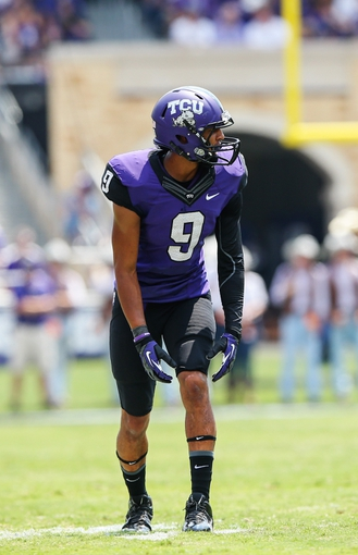 Sep 7, 2013; Fort Worth, TX, USA; TCU Horned Frogs wide receiver Josh Doctson (9) lines up during the game against the Southeastern Louisiana Lions at Amon G. Carter Stadium. Mandatory Credit: Kevin Jairaj-USA TODAY Sports