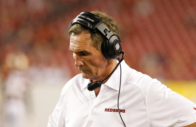 Aug 29, 2013; Tampa, FL, USA; Washington Redskins head coach Mike Shanahan during the second half against the Tampa Bay Buccaneers at Raymond James Stadium. Washington Redskins defeated the Tampa Bay Buccaneers 30-12. Mandatory Credit: Kim Klement-USA TODAY Sports