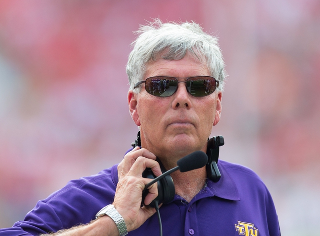Sep 7, 2013; Madison, WI, USA; Tennessee Tech Golden Eagles head coach Watson Brown during the game against the Wisconsin Badgers at Camp Randall Stadium.  Wisconsin won 48-0.  Mandatory Credit: Jeff Hanisch-USA TODAY Sports