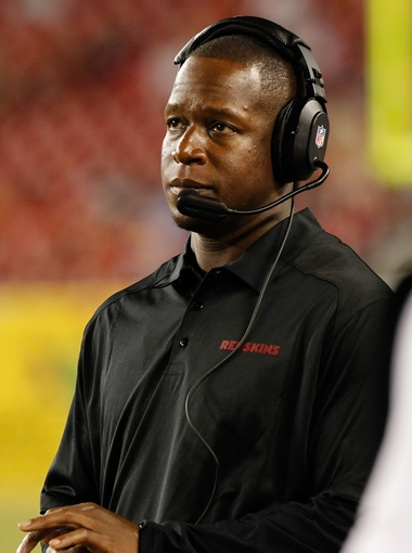 Aug 29, 2013; Tampa, FL, USA; Washington Redskins defensive back coach Raheem Morris during the second half against the Tampa Bay Buccaneers at Raymond James Stadium. Washington Redskins defeated the Tampa Bay Buccaneers 30-12. Mandatory Credit: Kim Klement-USA TODAY Sports