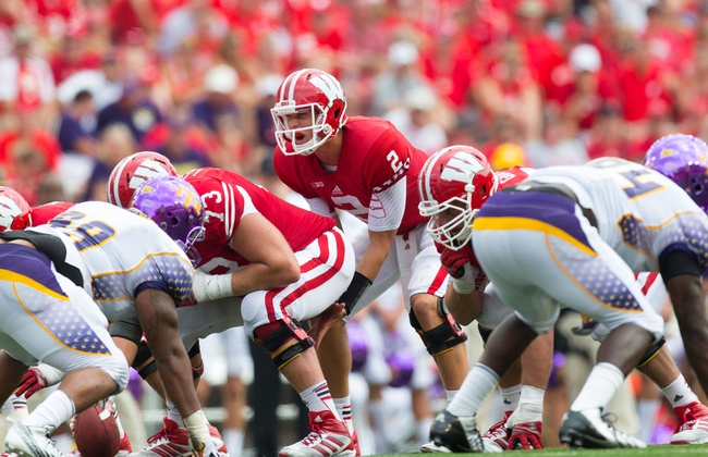 Sep 7, 2013; Madison, WI, USA; Wisconsin Badgers quarterback Joel Stave (2) during the game against the Tennessee Tech Golden Eagles at Camp Randall Stadium.  Wisconsin won 48-0.  Mandatory Credit: Jeff Hanisch-USA TODAY Sports
