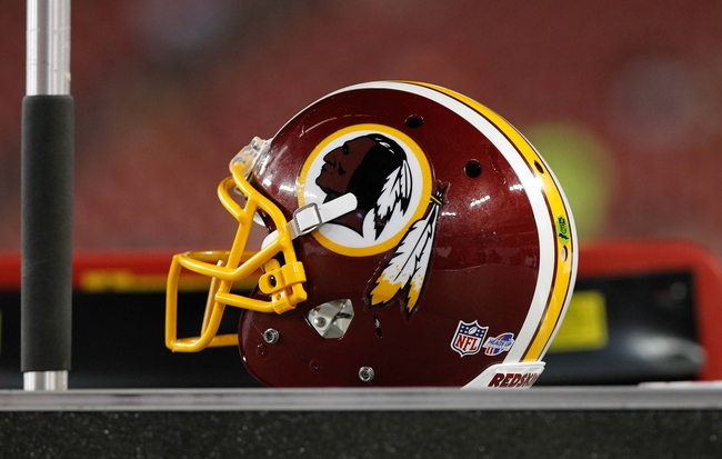 Aug 29, 2013; Tampa, FL, USA; Washington Redskins helmet during the second half against the Tampa Bay Buccaneers at Raymond James Stadium. Washington Redskins defeated the Tampa Bay Buccaneers 30-12. Mandatory Credit: Kim Klement-USA TODAY Sports