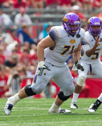 Sep 7, 2013; Madison, WI, USA; Tennessee Tech Golden Eagles offensive lineman Wesley Sherrill (74) during the game against the Wisconsin Badgers at Camp Randall Stadium.  Wisconsin won 48-0.  Mandatory Credit: Jeff Hanisch-USA TODAY Sports