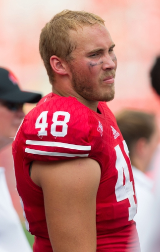 Sep 7, 2013; Madison, WI, USA; Wisconsin Badgers tight end Jacob Pedersen (48) during the game against the Tennessee Tech Golden Eagles at Camp Randall Stadium.  Wisconsin won 48-0.  Mandatory Credit: Jeff Hanisch-USA TODAY Sports