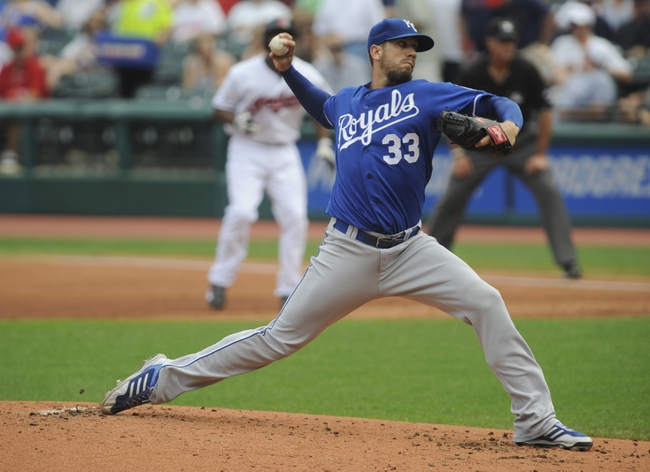 Sep 11, 2013; Cleveland, OH, USA; Kansas City Royals pitcher James Shields (33) pitches against the Cleveland Indians during the first inning at Progressive Field. Mandatory Credit: Ken Blaze-USA TODAY Sports