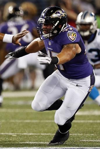 Aug 22, 2013; Baltimore, MD, USA;  Baltimore Ravens linebacker linebacker John Simon (47) at M&T Bank Stadium. Mandatory Credit: Mitch Stringer-USA TODAY Sports