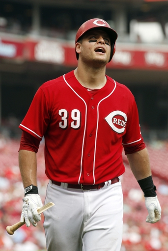 Sep 11, 2013; Cincinnati, OH, USA; Cincinnati Reds catcher Devin Mesoraco walks from home plate after breaking his bat during a game against the Chicago Cubs at Great American Ball Park. Mandatory Credit: David Kohl-USA TODAY Sports