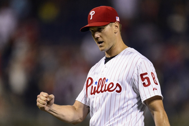 Sep 11, 2013; Philadelphia, PA, USA; Philadelphia Phillies pitcher Jonathan Papelbon (58) celebrates after pitching the ninth inning against the San Diego Padres at Citizens Bank Park. The Phillies defeated the Padres 4-2. Mandatory Credit: Howard Smith-USA TODAY Sports