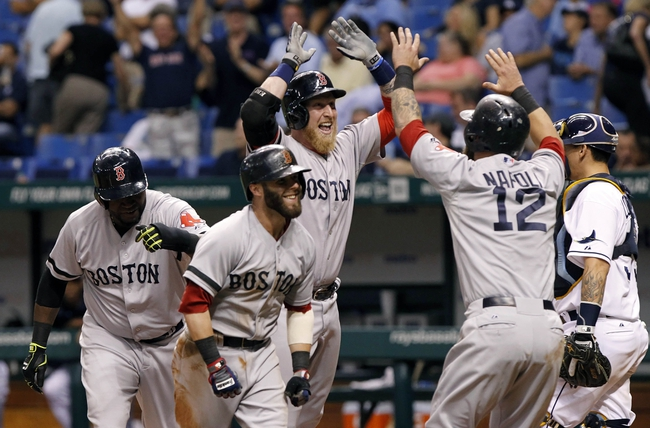Sep 11, 2013; St. Petersburg, FL, USA; Boston Red Sox left fielder Mike Carp (37) is congratulated by second baseman Dustin Pedroia (15), designated hitter David Ortiz (34) and first baseman Mike Napoli (12) after he hit the go ahead grand slam during the tenth inning against the Tampa Bay Rays at Tropicana Field. Boston Red Sox defeated the Tampa Bay Rays 7-3. Mandatory Credit: Kim Klement-USA TODAY Sports