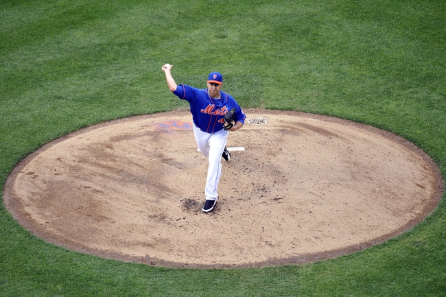 Sep 12, 2013; New York, NY, USA; New York Mets starting pitcher Aaron Harang (44) throws a pitch against the Washington Nationals during the third inning at Citi Field. Mandatory Credit: Joe Camporeale-USA TODAY Sports