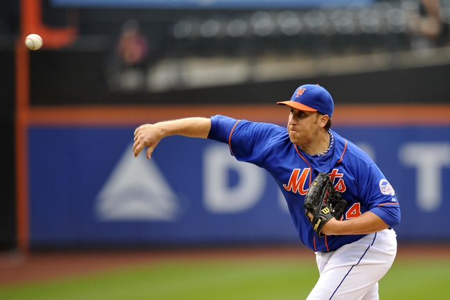 Sep 12, 2013; New York, NY, USA; New York Mets starting pitcher Aaron Harang (44) throws a pitch against the Washington Nationals during the fourth inning at Citi Field. Mandatory Credit: Joe Camporeale-USA TODAY Sports
