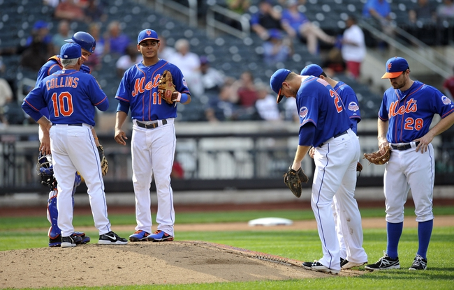 Sep 12, 2013; New York, NY, USA; New York Mets manager Terry Collins (10) and players converse during a pitching change during the seventh inning against the Washington Nationals at Citi Field. Mandatory Credit: Joe Camporeale-USA TODAY Sports