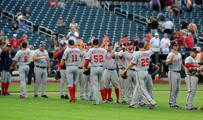 Sep 12, 2013; New York, NY, USA; Washington Nationals players celebrate after defeating the New York Mets at Citi Field. The Nationals won the game 7-2. Mandatory Credit: Joe Camporeale-USA TODAY Sports