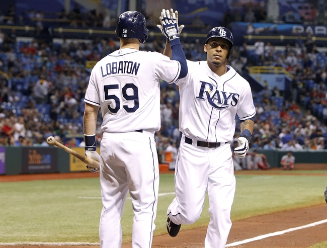 Sep 12, 2013; St. Petersburg, FL, USA; Tampa Bay Rays center fielder Desmond Jennings (8) is congratulated by catcher Jose Lobaton (59) after he hit a solo home run and scored during the fourth inning against the Boston Red Sox at Tropicana Field. Mandatory Credit: Kim Klement-USA TODAY Sports