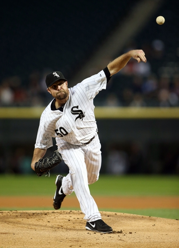 Sep 12, 2013; Chicago, IL, USA; Chicago White Sox starting pitcher John Danks throws a pitch against the Cleveland Indians during the first inning at U.S Cellular Field. Mandatory Credit: Jerry Lai-USA TODAY Sports